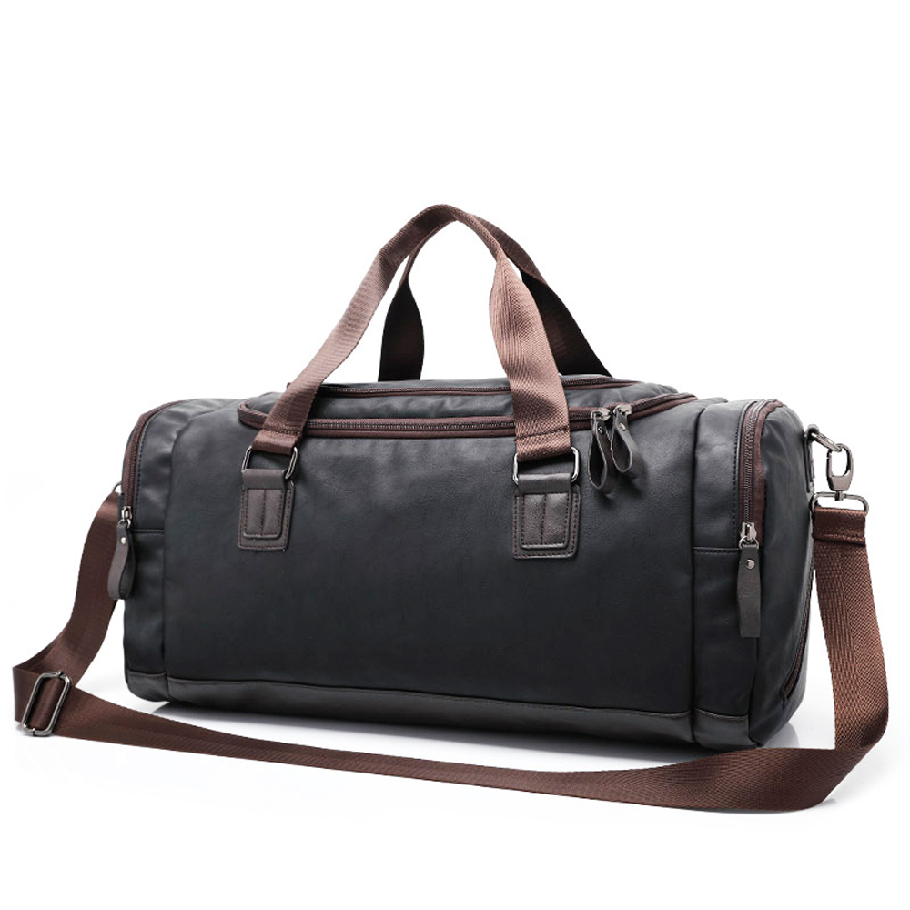 New high qual PU leather travel bag Men duffel bag large capacity bags with shoulder Strap shoulder bag leahter Handbag for Male 2