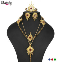 Shamty Three Colors Stone Jewelry Sets Ethiopian Pendant Chain Earring Forehead Chain Pure Gold Color Habasha Africa Sets A30051