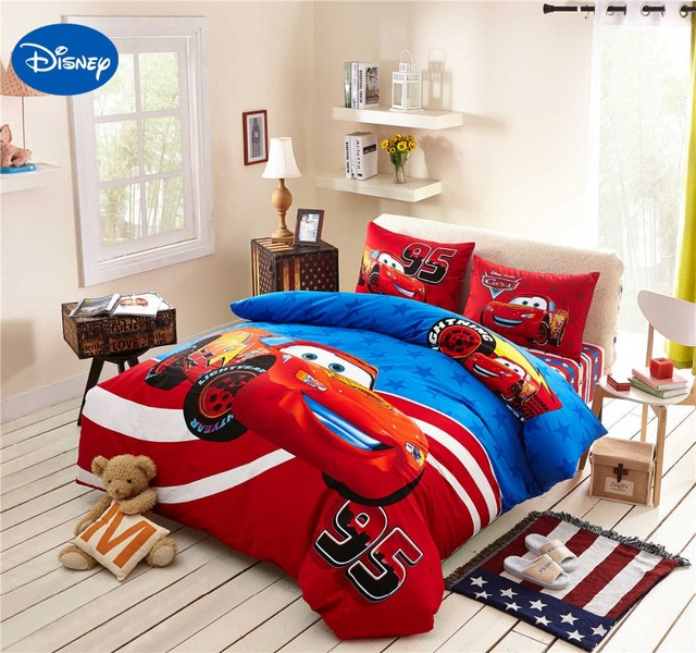 Lightning McQueen Cars Bedding Set Cotton Bedclothes Cartoon Disney Printed Bed Covers Boys Home Decor Single Twin Size Blue Red