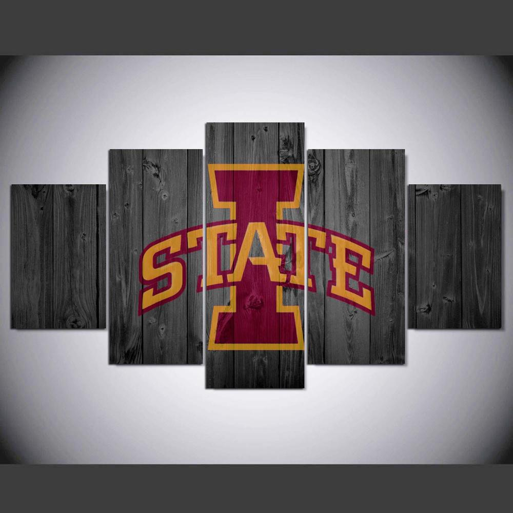 5 Pieces Iowa State Cyclones Sports Painting Canvas Wall Art Picture Home Decoration Living Room Modern Painting W/1363
