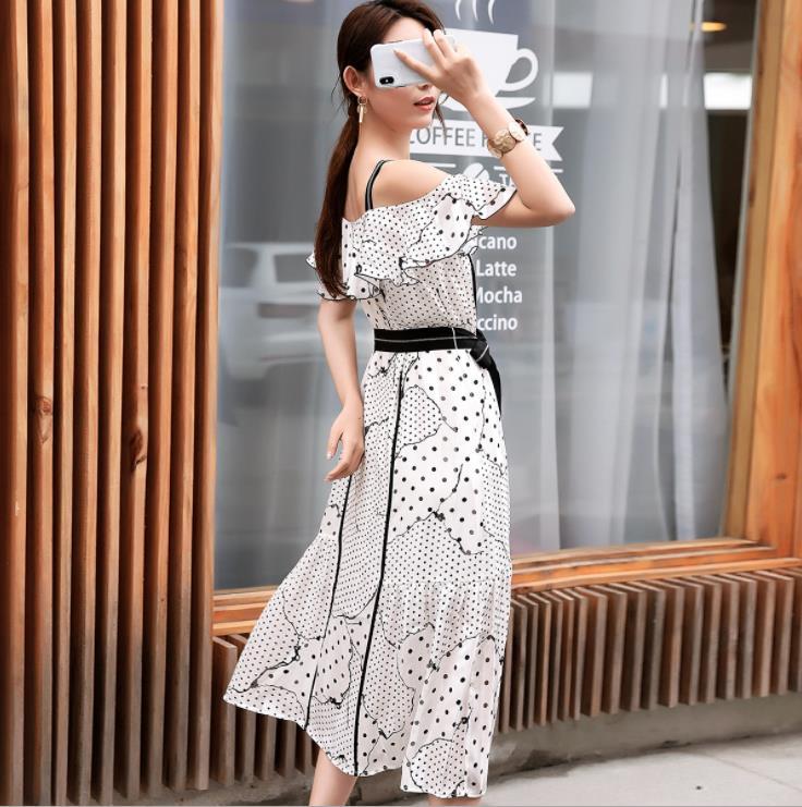 2019 Off Shoulder Strap Midi Dress Sexy Elegant Women Summer Dress With Belt Vestidos De Verano - 6