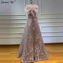 Dubai diseño plumas rosas vestidos de noche cristalinos 2020 sin mangas de lujo Sexy Formal Serene Hill LA60956