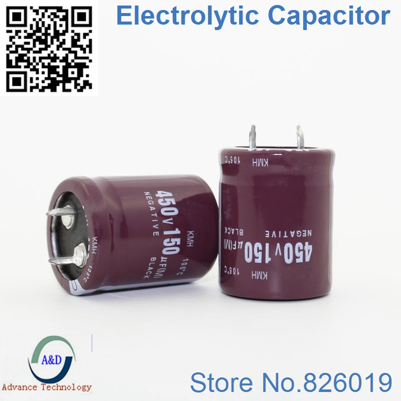 2pcs/lot <font><b>450V</b></font> <font><b>150UF</b></font> Radial DIP Aluminum Electrolytic <font><b>Capacitors</b></font> size 25*30 <font><b>150UF</b></font> <font><b>450V</b></font> Tolerance 20% image