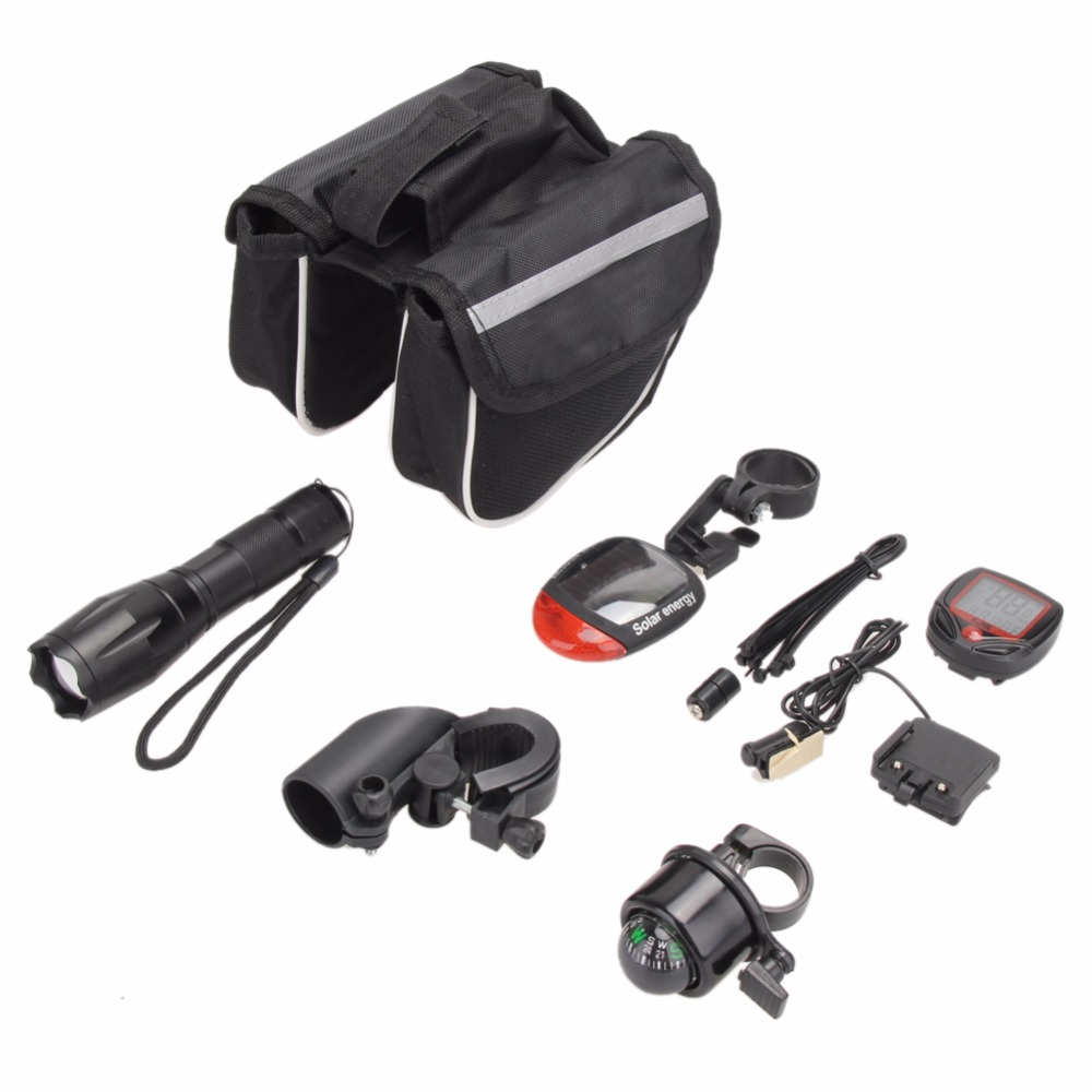 Cycling Bicycle Light Set Kit Bike Flashlight+Bicycle Rear Tail Lights+Stopwatch+Bike Tube Bag+Bell+Bracket Accessories 2018 New 44pcs set mountain bike patchs maintenance repair box diagnostic tools kit valuables cycling chain case bicycle accessories