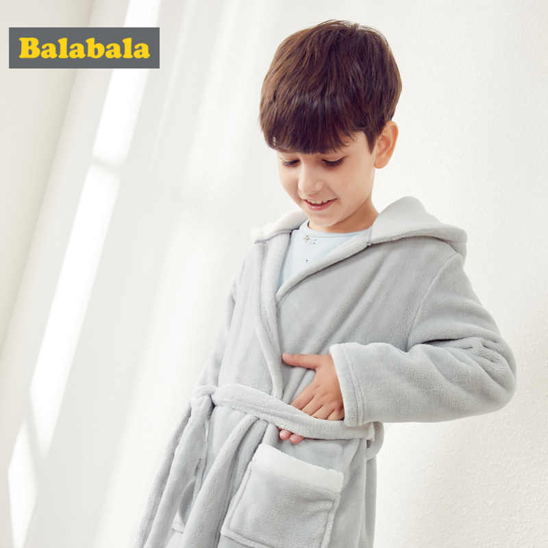 Balabala Boys Critter Ear Hooded Flanel Fleece-Lined Robe with Pocket Wrap Silouette for Kid Toddler Boy with Embroidery at Hood