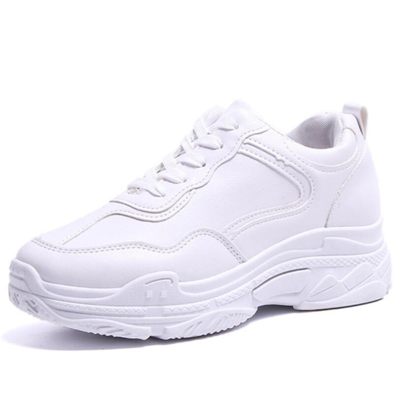 Mhysa 2019 New Spring Fashion Women Casual Shoes  Leather Platform Shoes Women Sneakers Ladies White Trainers Chaussure Femme