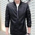 4XL Новый мужской Slim С Коротким PU Кожаные Куртки Мужчины Стоят Воротник Пальто Мужчины Мотоцикл Куртки Твердые Повседневная Марка Одежды SA017