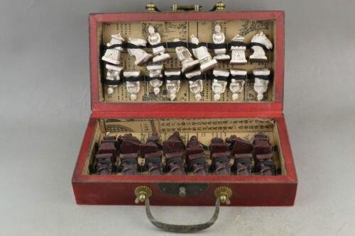 Élaboré chinois classique décoratif bois merveilleux terre cuite guerriers statues boîte d'échecs