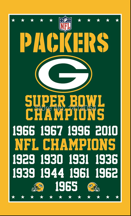 Green Bay Packers <font><b>super</b></font> <font><b>bowl</b></font> champions Vertical Flag NFL 3X5FT Banner 100D Polyester brass grommets custom, free shipping
