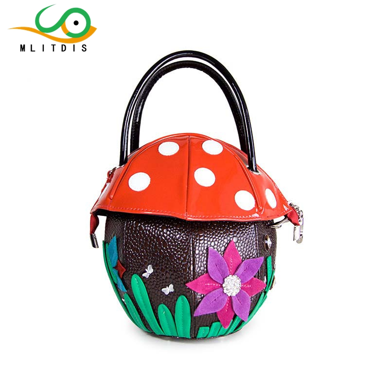 ФОТО MLITDIS 2017 new cute mushroom bags embossed flower handbags ladies handbag travel Creative Bags art fashion handbag