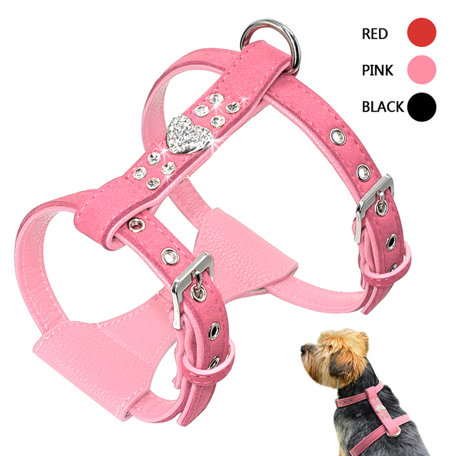 Bling Rhinestone Puppy Dog Harness Leather Padded Chihuahua Harnesses Vest With Heart Accessory For Small Medium Dogs Pink S M L