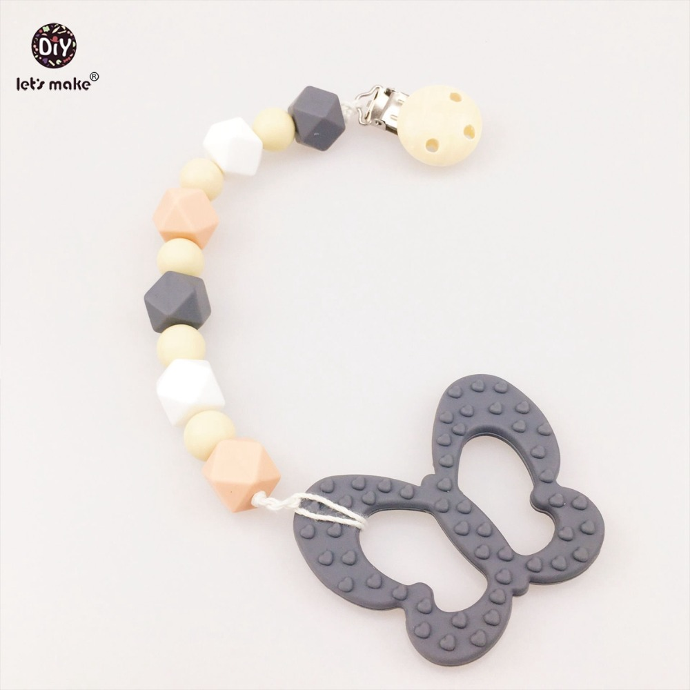 Baby Nursing Pendants Chew Silicone Beads Silicone Butterfly Round Pacifier Clip Car Seat Toy DIY Crafts Teething Accessories