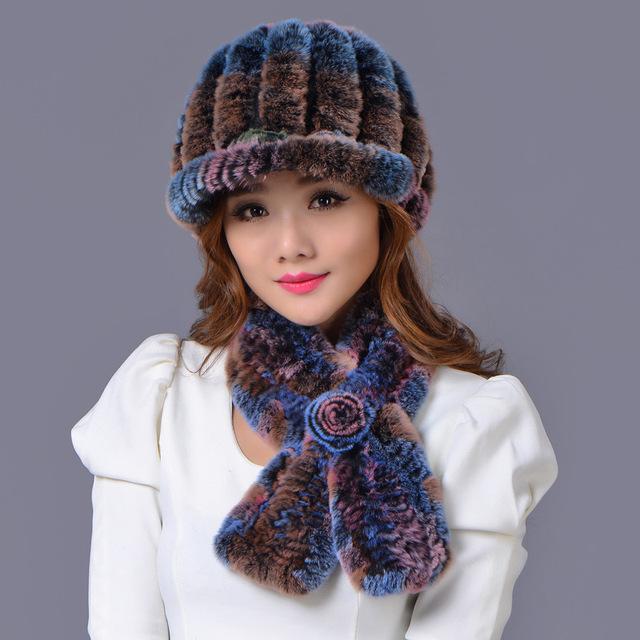 Pele de guaxinim chapéu + lenço de seda = 1 conjunto 2016 gorros de inverno chapéu de pele para as mulheres malha 100% rex chapéu de pele de Guaxinim tamanho livre das mulheres casuais chapéu