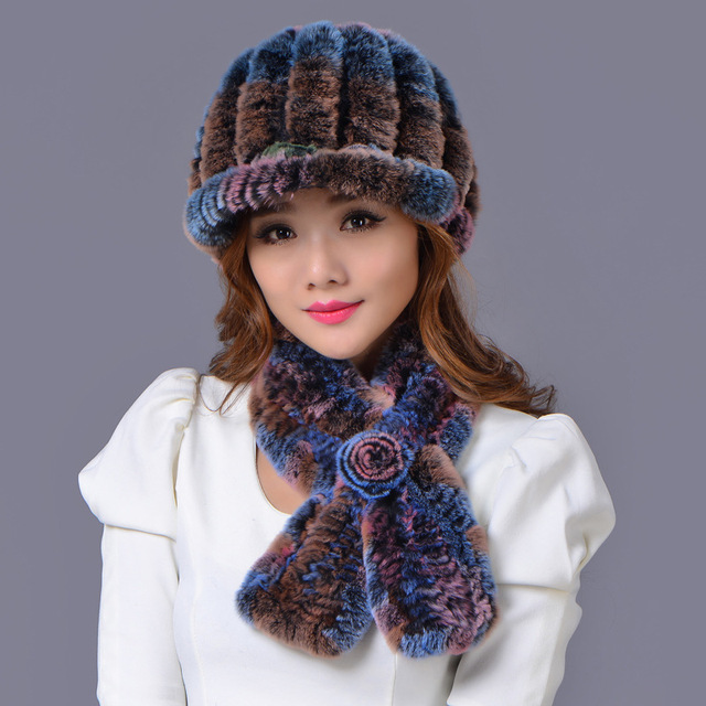 Raccoon fur hat+scarf=1set 2016 winter beanies fur hat for women knitted 100% rex Raccoon fur hat free size casual women's hat