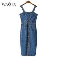 WAQIA 2019 Spring Summer Women Denim Dress Sundress Sarafan Overalls Dress Vintage Blue Sexy Bodycon Female Jeans Dress Vestidos