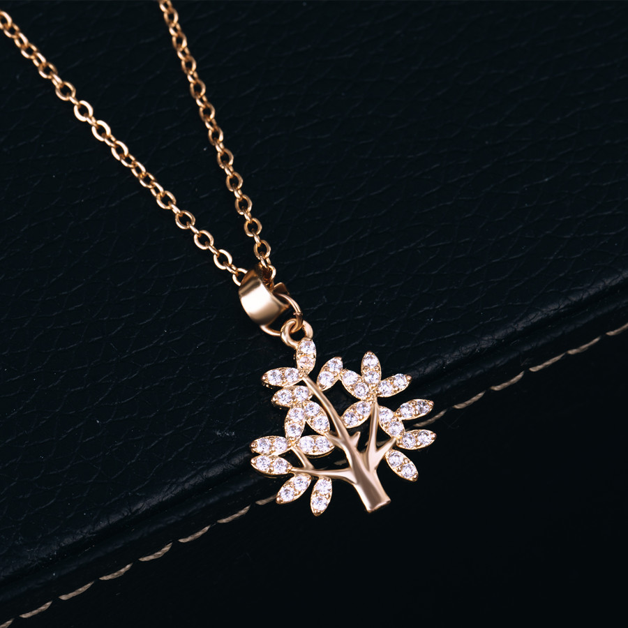 Hot Tree of Life Crystal Round Small Pendant Necklace Gold Silver Colors Bijoux