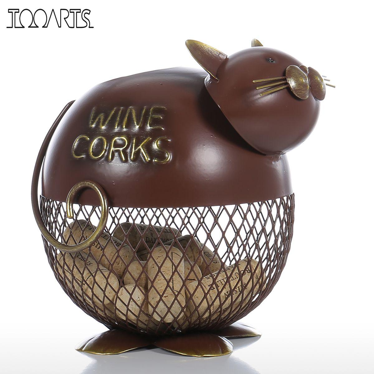 Tooarts Puffy Cat Wine Cork Container Vintage Home Decor Metal Sculpture Animal Decoration Craft Gift