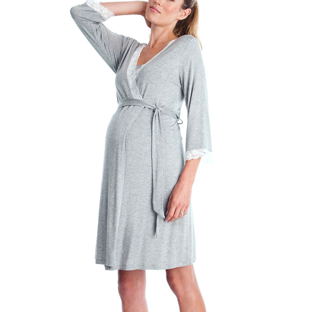 Solid Gray Lace LONSANT Maternity Dress 3