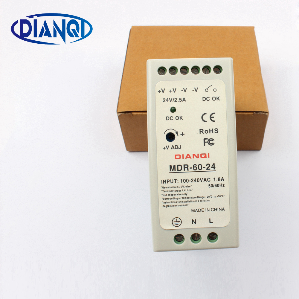 High quality din rail power supply switch MDR-60-24 60W 24V output DIANQI Switching 24v 1 7a 40w ce approved mini din rail single output switching power supply mdr 40 24