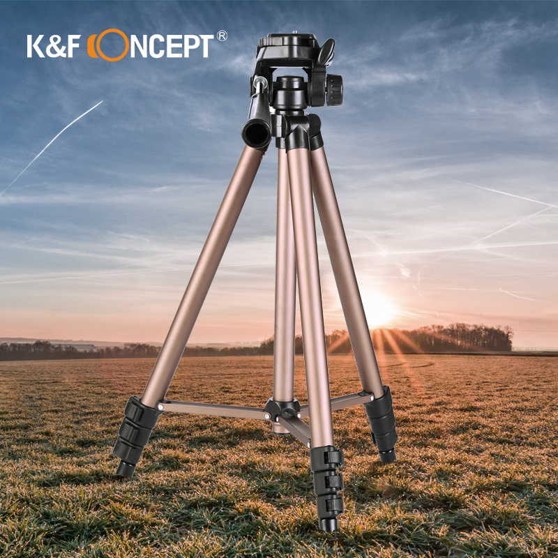 K&F CONCEPT Lightweight Travel Stand Tripod TL20231 Portable Metal Quick Installation Plate ABS Lock For DSLR Camera Camcorder