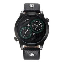 Los hombres Del reloj del Deporte dual sport reloj de cuarzo-reloj 30 M Resistente Al Agua cuero genuino reloj hombre