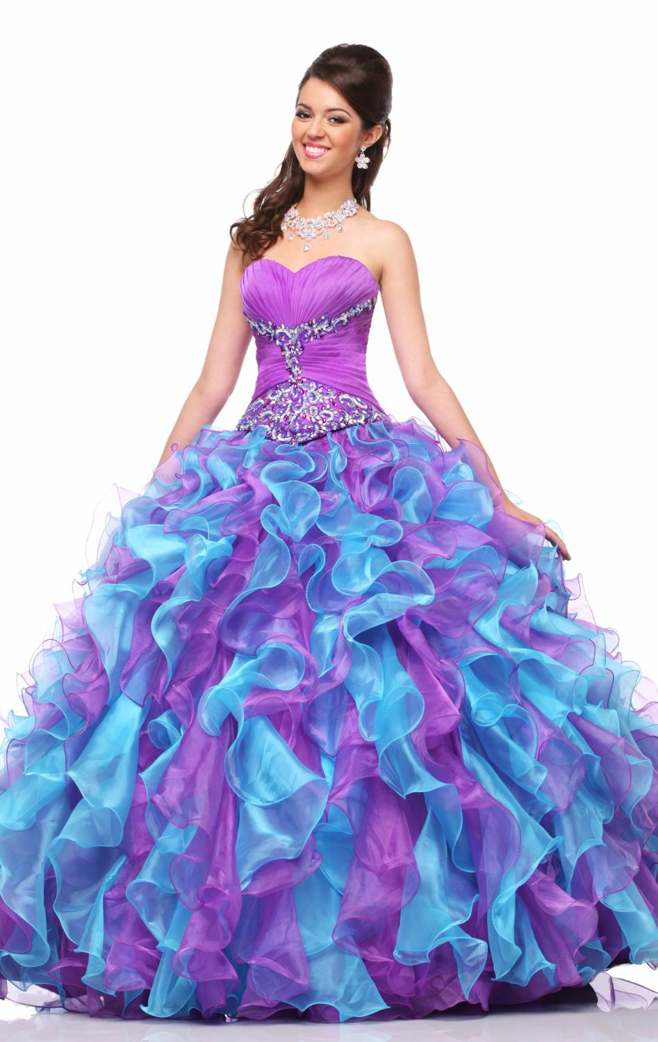 Dresses quinceanera turquoise and purple images