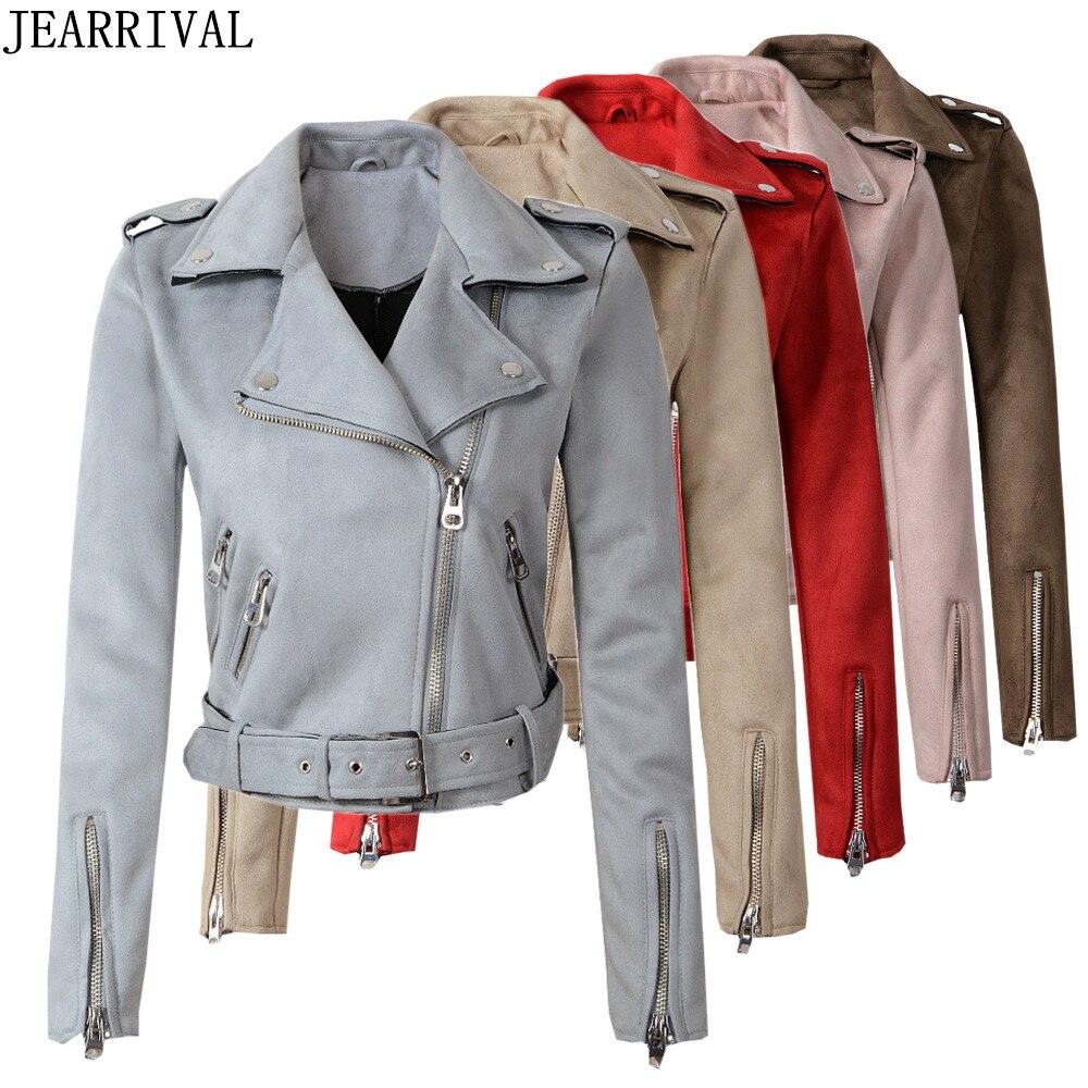 New Fashion Autumn Winter   Suede   Faux   Leather   Jacket Women's Zipper Slim Matte Biker Motorcycle Coat Short Bomber Jackets Outwear