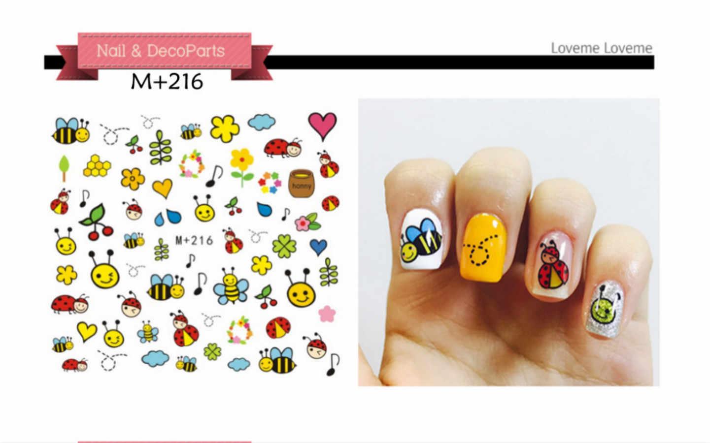 Bees Ladybugs สติกเกอร์เล็บดอกไม้ผีเสื้อรูปลอก Sliders สำหรับตกแต่งเล็บ Tattoo Manicure Wraps เครื่องมือเคล็ดลับ