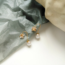 Simply Fashion Jewelry Glass With Round Pearl Drop Earrings For Woman Gift