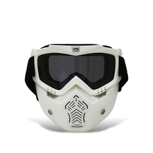 Jiepolly Motorcycle Vintage Face Mask Detachable Goggles Mask Motocross Off Road Dirt Pit Goggle Cycling Eyewear White Frame