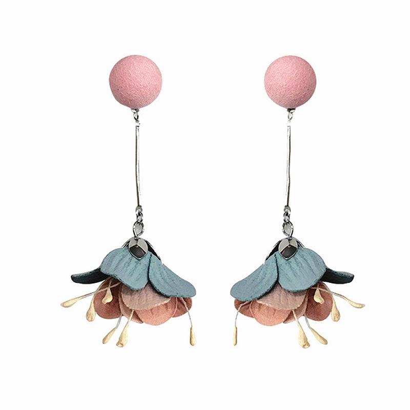 LNRRABC Multicolor Elegant Flower Cloth Drop Earrings For Women Long Tassel Earrings Fashion Wedding Earring Brinco Bijouterie