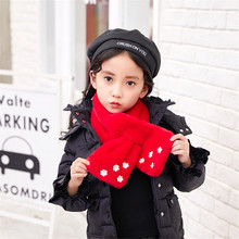 Multicolor Children Scarf For Winter Girls Scarves Baby Plush Scarf With PU Flower Comfortable Neck Warmers New Year gift