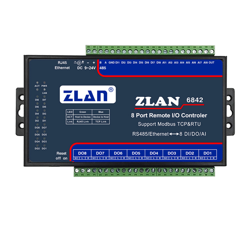 8 way DI DO AI remote IO controller analog digital switch ZLAN6842 support modbus TCP RTU