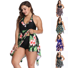 цена Tankini 2019 Swimming Suit For Women Sexy high waist Swimwear  Female Bathing Suit push up floral swimsuit plus size 6XL онлайн в 2017 году