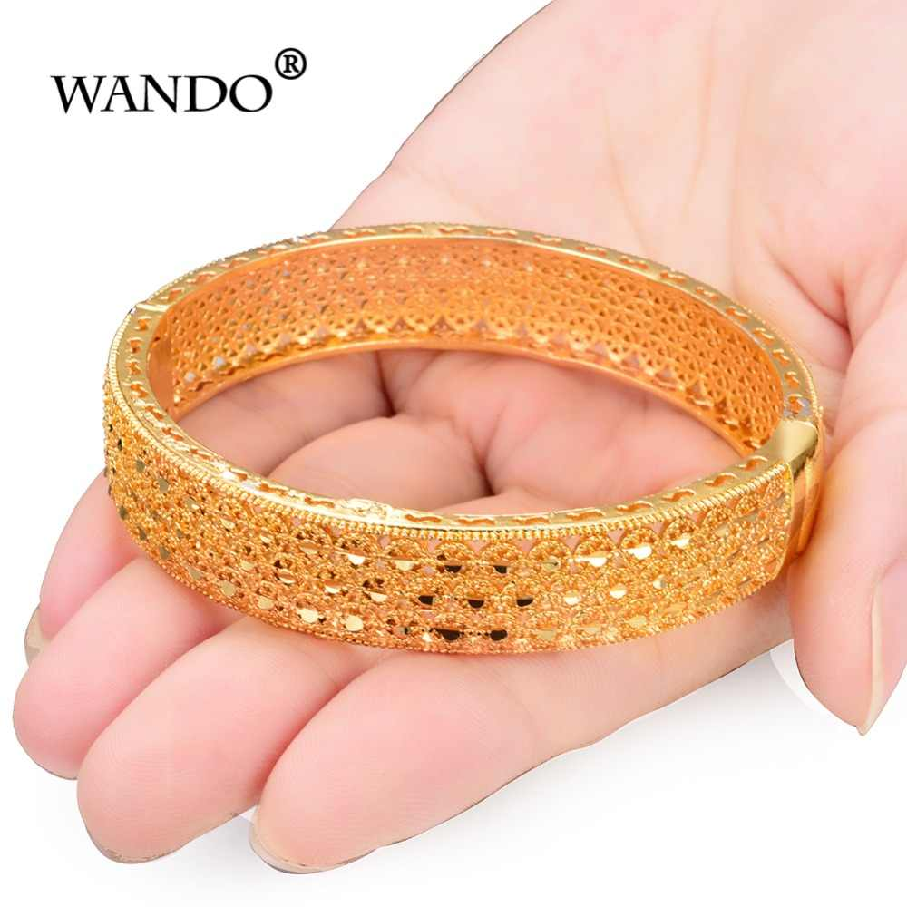 WANDO 4pcs/lot Charm Bracelets for Women luxury Brand Gold Color Hollow Holiday Beach Party Bangle Jewelry Indian jewelry wb132