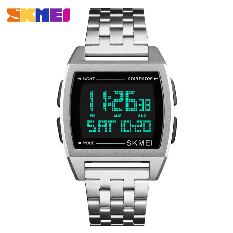 LED Digital Watch Men Sports Watches men's Relogio Masculino Relojes Stainless Steel Military Waterproof Wristwatches SKMEI 2018