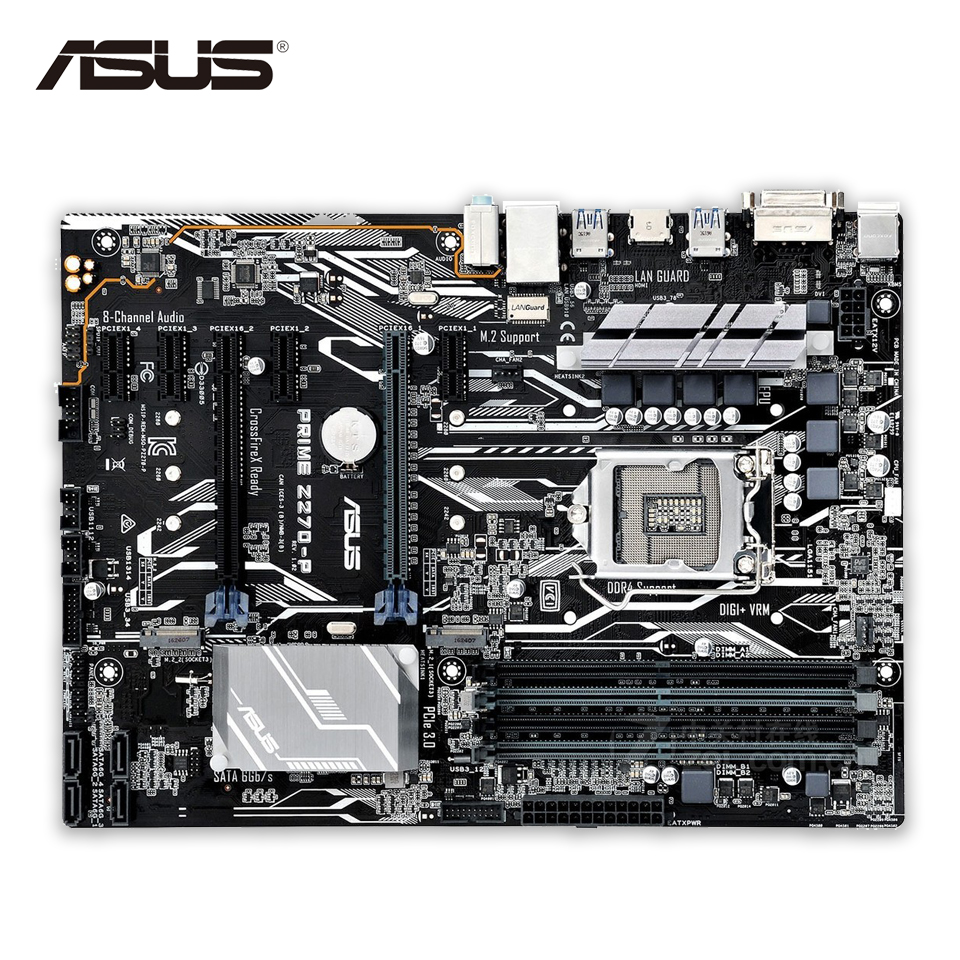 Asus PRIME Z270-P Original New Desktop Motherboard Z270 Socket LGA 1151 i7 i5 i3 DDR4 64G SATA3 USB3.1 ATX for msi z170a krait gaming 3x original new desktop motherboard for intel z170 socket lga 1151 for i3 i5 i7 ddr4 64g sata3 atx