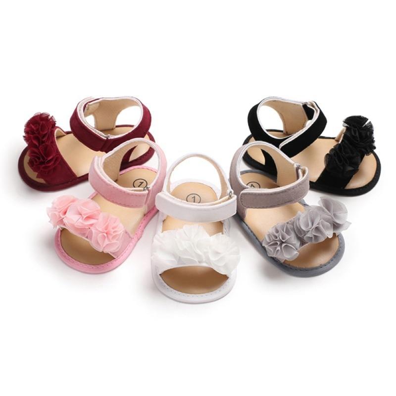 Newborn Baby Girl Lace Floral Sandals Shoes Beach Summer Tassel Shoes Girl Non-slip Soft Bottom Princess Bow Sandals 0-18M
