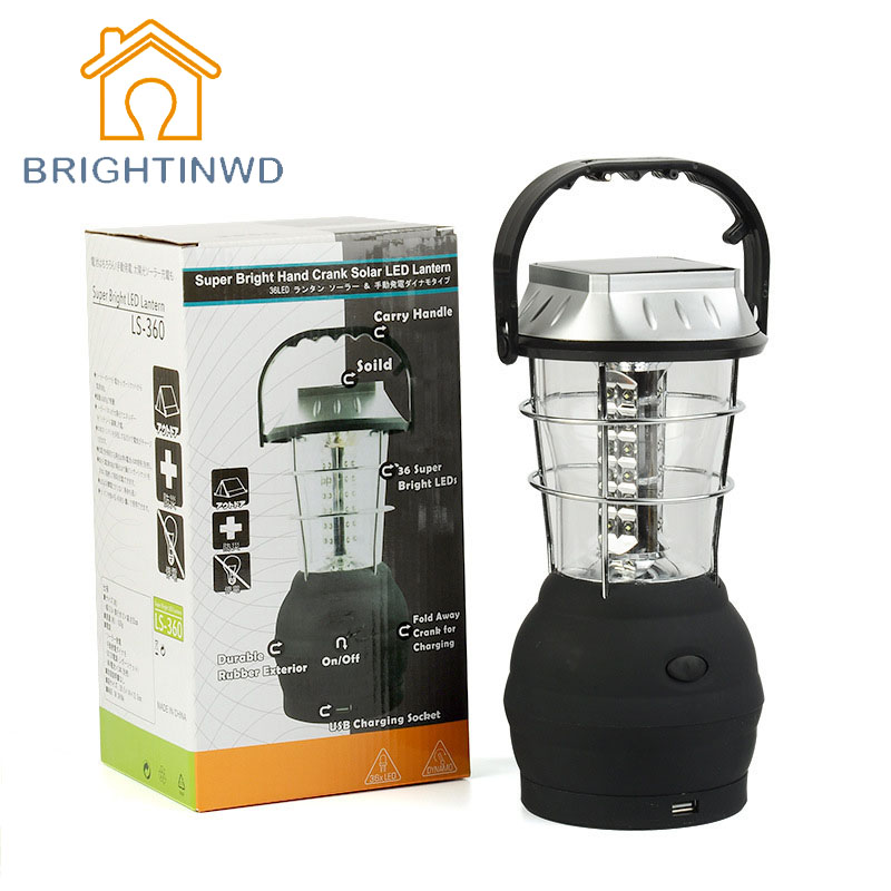 BRIGHTINWD 36LED Solar Camping Light Rechargeable Emergency Light Household Portable Lantern Camping Lantern Tent Lamp
