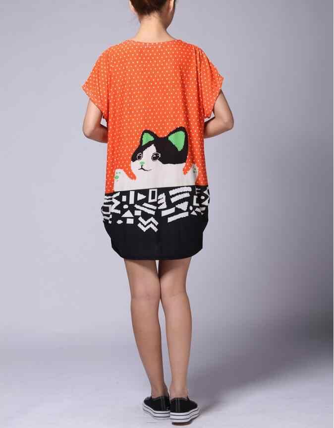 2017 Летняя женская серая и оранжевая Повседневная Длинная футболка с котом топы свободный пуловер с цветочным принтом тигра свободная туника для женщин Футболка