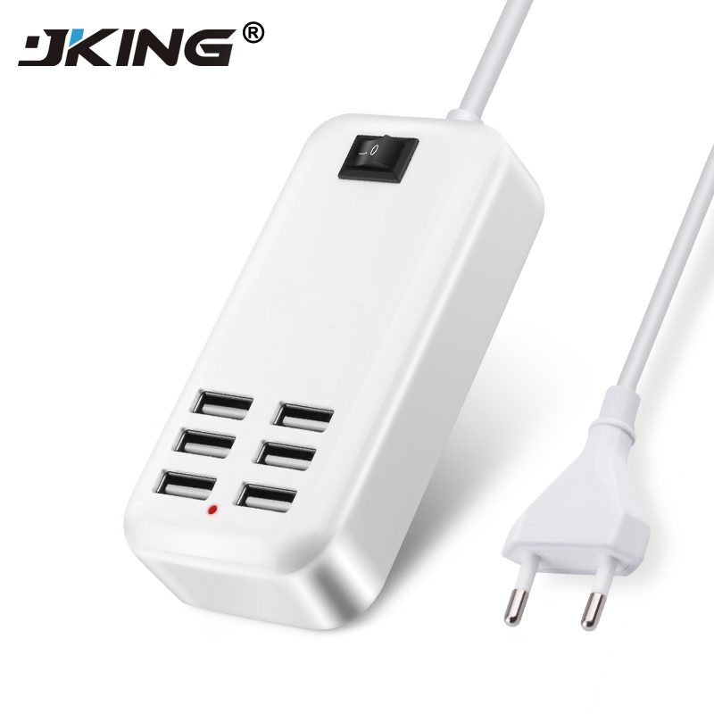 JKING UK EU US Plug Home Travel Charger Wall Power Adapter 6 Ports USB Socket Hub +1 Switch For PDAs/iPhone/Samsung/HTC/LG/iPod