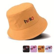 ca1589de Korean Plain Cotton Bucket Cap Hats For Men Women Harajuku Embroidery  Letter Fishing Hat Summer Beach