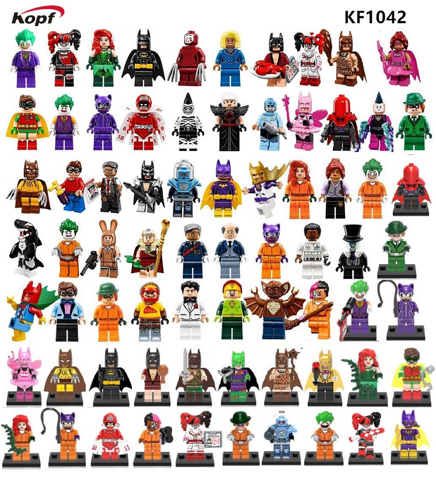 Super Heroes Joker Glam Metal Vacation Batman Catwoman Penguin Calendar Man Aaron Cash Riddler Building Blocks Kids Toys KF1042 super heroes riddler scarecrow two face bruce wayne batman penguin aaron cash harley quinn mime building blocks kids toys kf1041