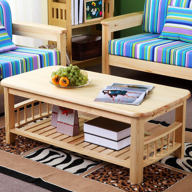 Pine wood modern center table with shelf storange natural for Latest center table design