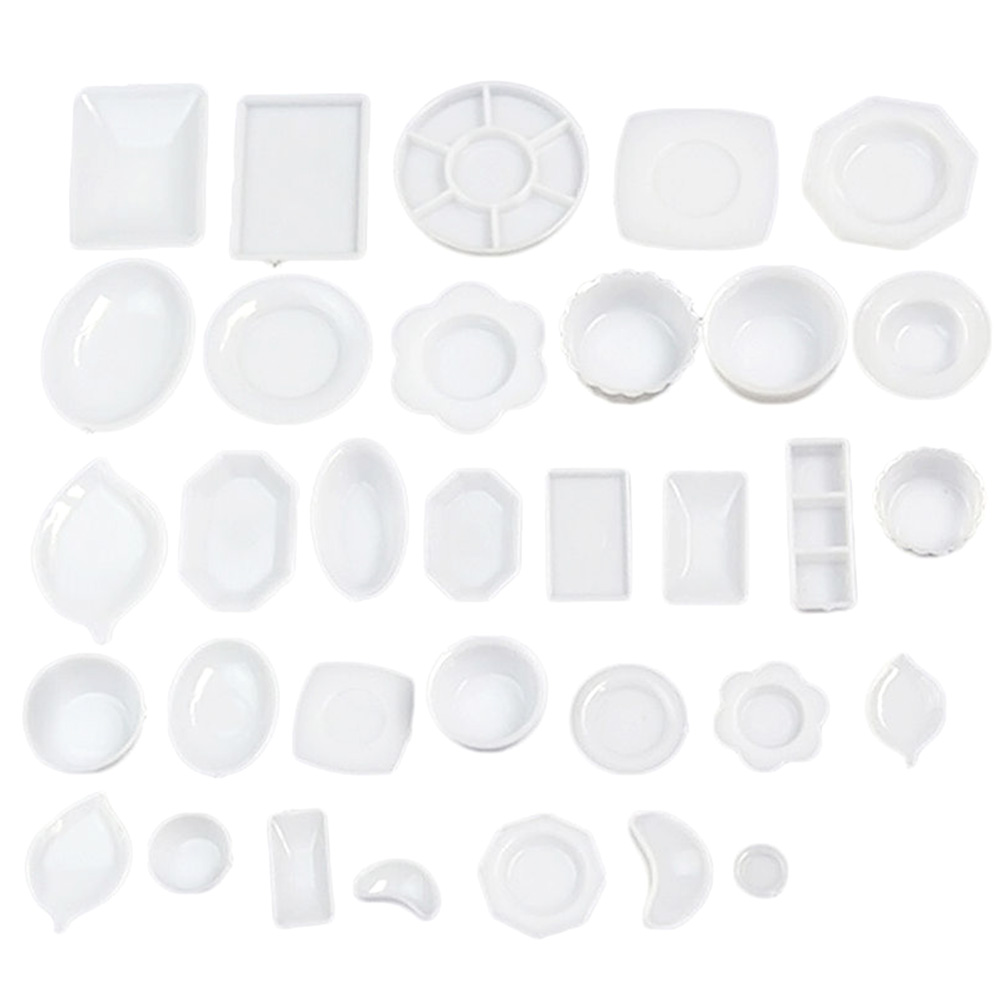 33 Pcs/set Dollhouse 1/12 Miniature Tableware Plastic Plate Dishes Set Mini Food Plastic Tableware Model Sets