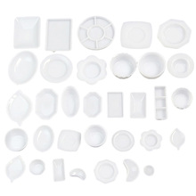 33 Pcs/set Dollhouse 1/12 Miniature Tableware Plastic Plate Dishes Set Mini Food Model Sets