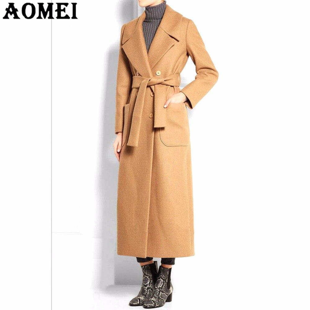 7b913b27b303f4 € 49.01 15% de réduction Femmes Long laine manteaux Camel avec poche avant  bureau dame vêtements de travail vêtements Outwear Tweed nouveau ...