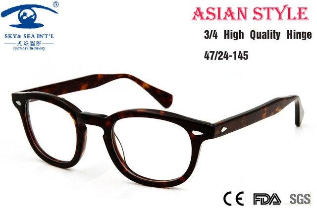Asian People High Quality Johnny Depp Glass Eyewear Frames Men Vintage Round Frame Glasses Mens Retro Optical Frame Rx