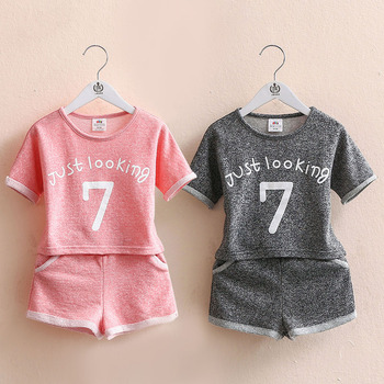 Girls Clothing Set 2018 Summer 2 3 4 5 6 7 8 9 10 Years Old Kids Girl Number Letter Print Short Sleeve T Shirt+Shorts Sports Set