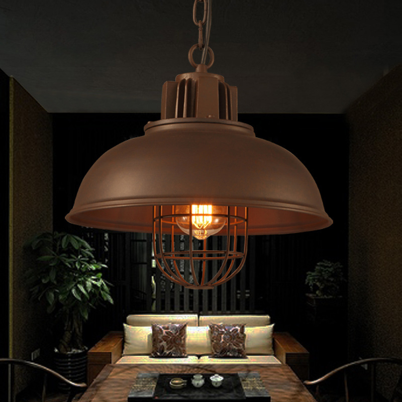 The pan loft cafe restaurant industry chandelier bar creative personality retro Hot pot shop single head chain hanging lamp contemporary and contracted creative personality retro art glass chandelier cafe restaurant study lamps act the role of milan